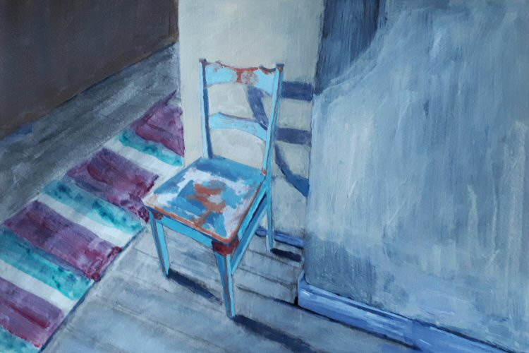 Old Teal Chair Painting Early Stage
