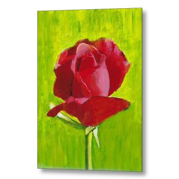Red Rose Painting 18 x 24 inches Metal Print Wall Art