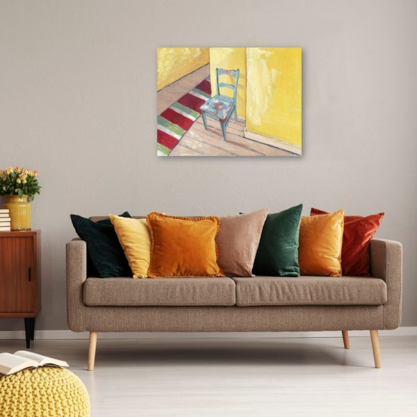 Runner and Teal Chair Canvas Wall Art