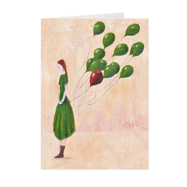 Let Go, Girl With Green Balloons Greeting Card