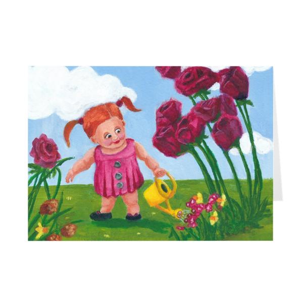 Little Girl Watering Flowers Greeting Card
