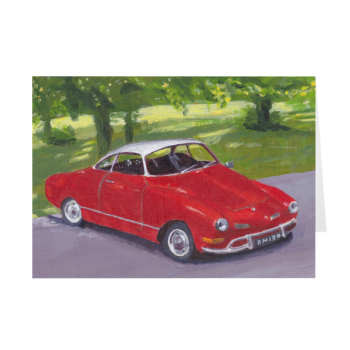 Red Classic Car in Greenwich Park Greeting Card