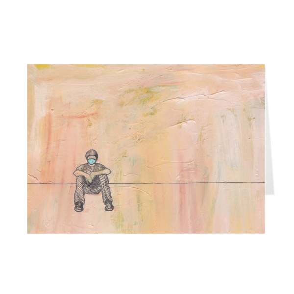 Social Distance Sitting With Mask Greeting Card