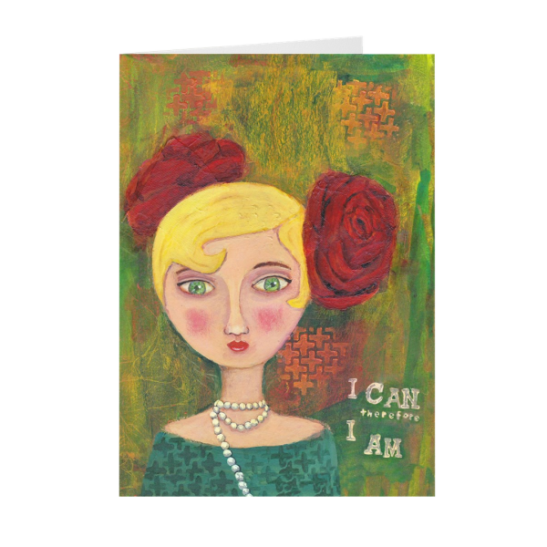 Mixed Media Lady Greeting Card
