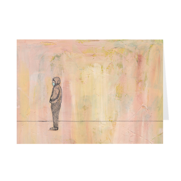 Social Distance Standing With Mask Greeting Card