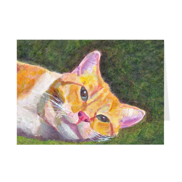 Ginger Tabby Cat Relaxes Greeting Card