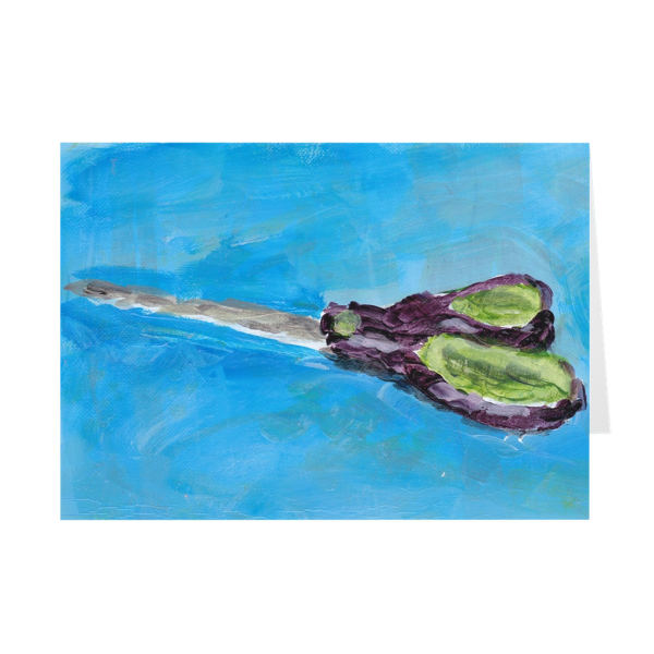 Purple And Green Scissors On Blue Greeting Card