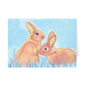 Pastel Bunnies On Blue Greeting Card