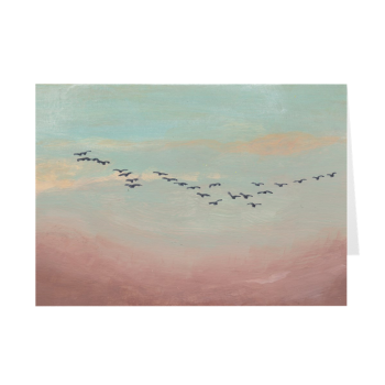 Flock Of Birds In Distant Sky Greeting Card