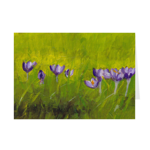 Crocus Flowers In Grass Greeting Card
