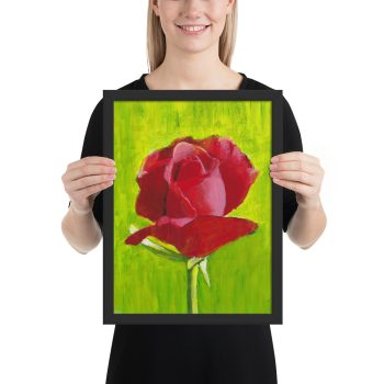 Red Rose Painting Framed Print Wall Art