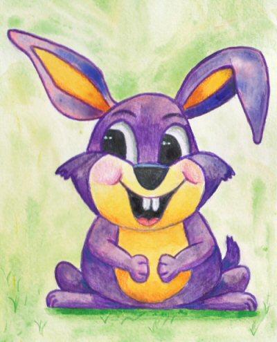 Purple and orange bunny rabbit