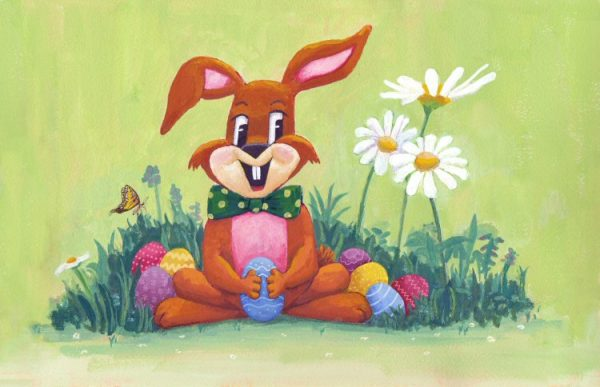 Easter Bunny and Eggs Painting