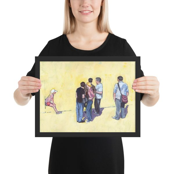 People Stand and People Watch Framed Print 12 x 16 inches