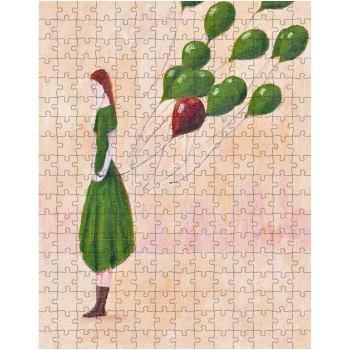 Girl with Green Balloons 252 Piece Jigsaw Puzzle