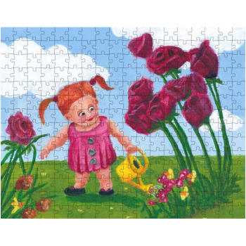 Little Girl Watering Flowers 252 Piece Jigsaw Puzzle