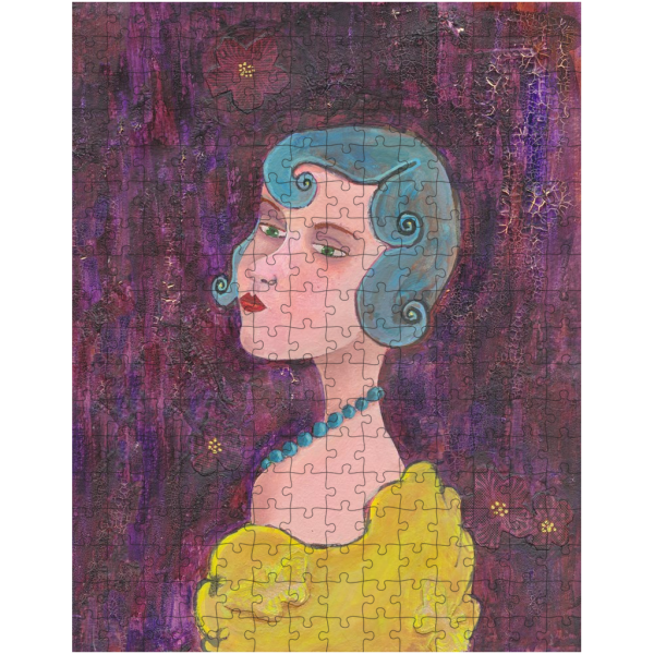 Lady with Blue Curls and Pearls 252 Piece Jigsaw Puzzle
