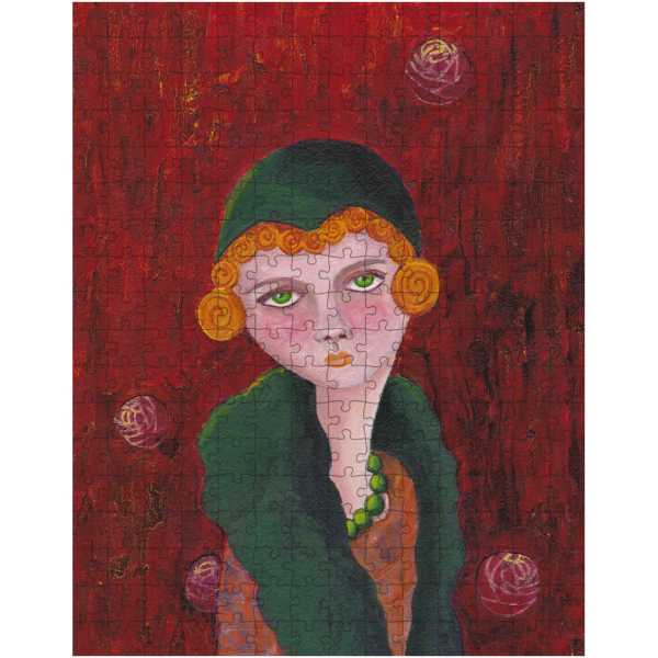 Lady with Orange Curls and Green Pearls 252 Piece Jigsaw Puzzle