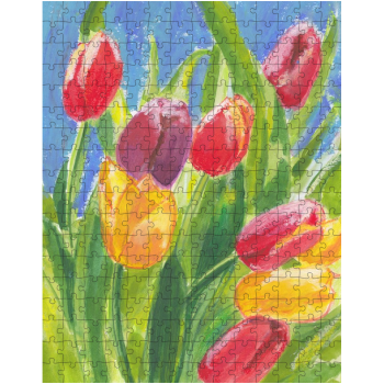 Colourful Tulips on Blue 252 Piece Jigsaw Puzzle