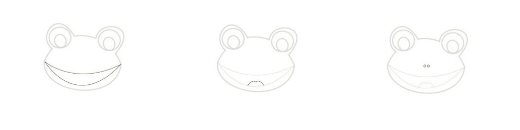 The frog's mouth and nose.