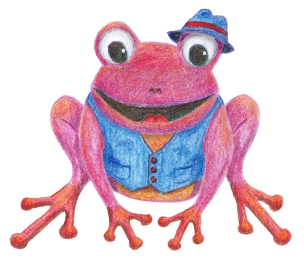 Frog coloured with coloured pencils.