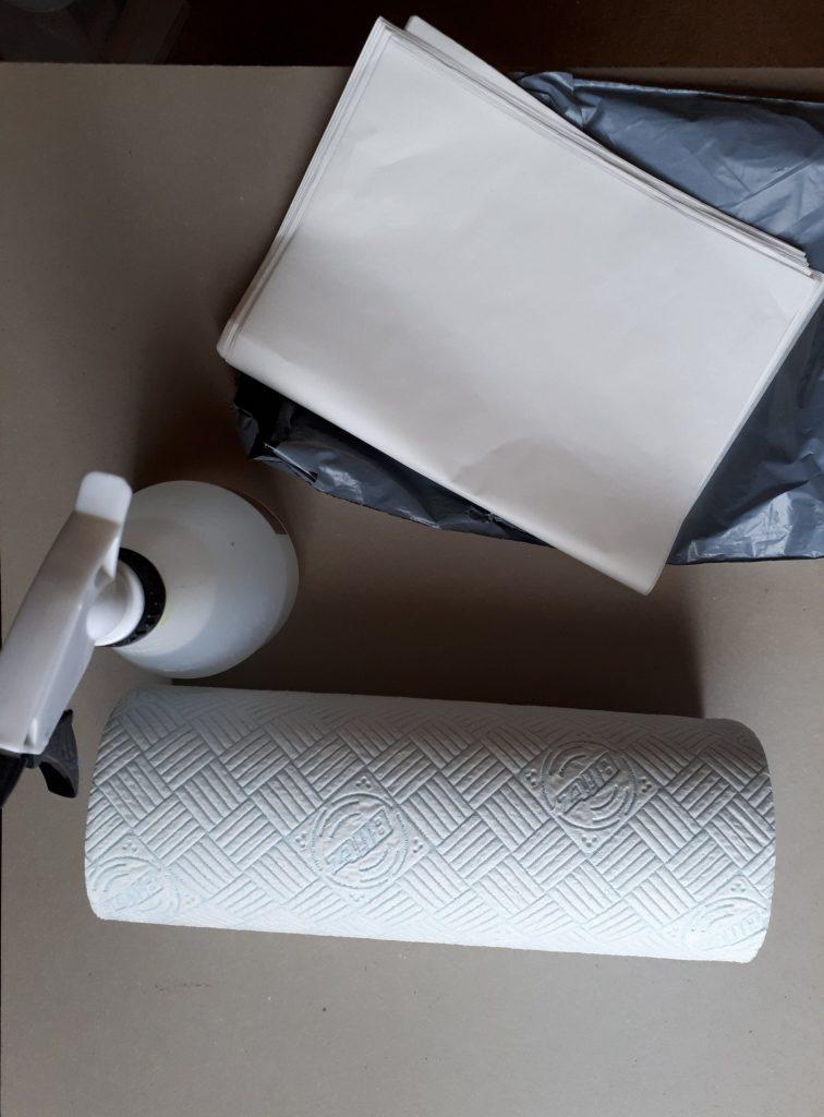 Spray Bottle, Kitchen Roll, Wax Paper