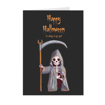 Dwarf Grim Reaper Happy Halloween Greeting Card