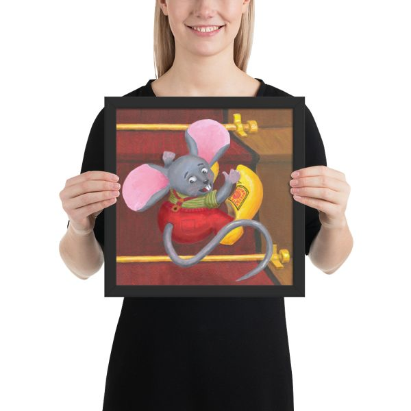 Mouse with Clogs On Framed Print