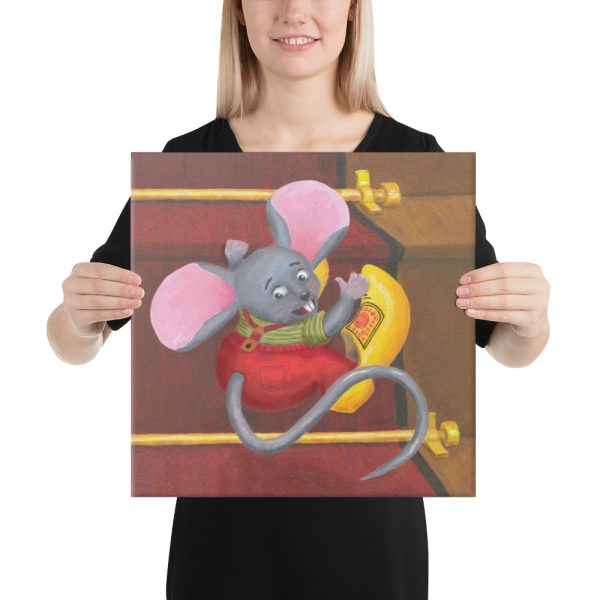 Mouse with Clogs On 16x16 Canvas Print