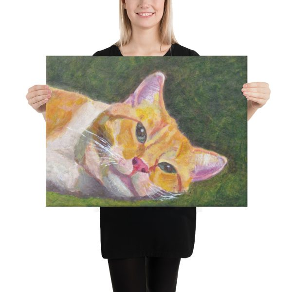 Ginger Tabby Cat Relaxes Canvas Print 18x24