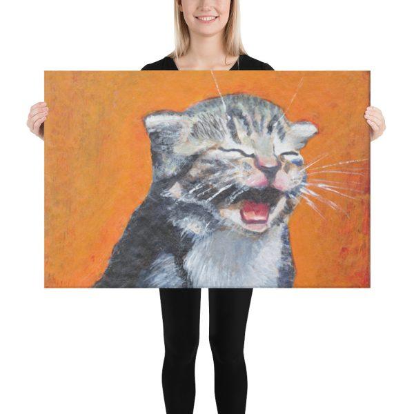 Laughing Kitten Meow 24x36 Canvas Print