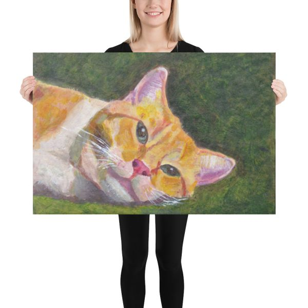 Ginger Tabby Cat Relaxes Canvas Print 24x36
