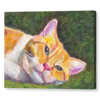 Ginger Tabby Cat Relaxes Canvas Print 12x16