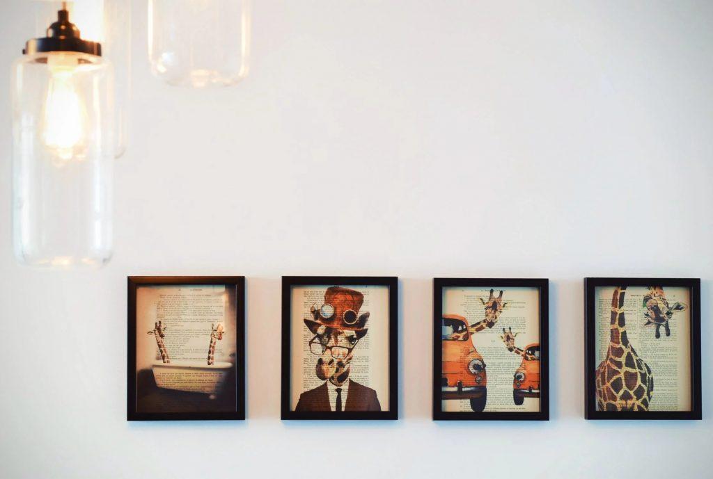 A series of giraffe art prints