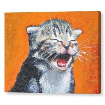 Laughing Kitten Meow 12x16 Canvas Print