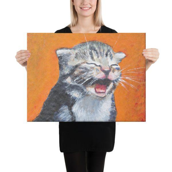 Laughing Kitten Meow 18x24 Canvas Print