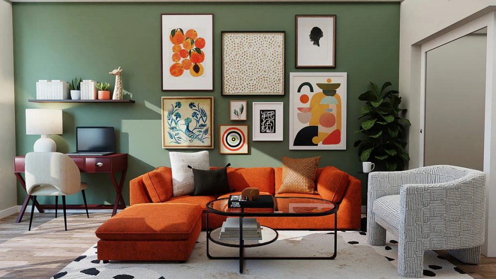 Artwork with touches of orange to complement the sofa.