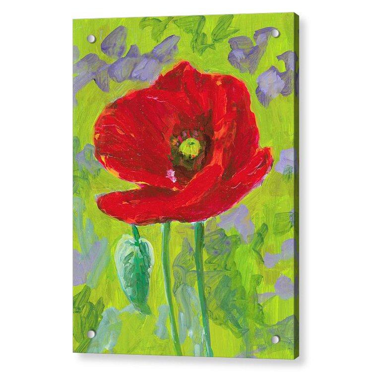 Poppy Flower in Grass Acrylic Print