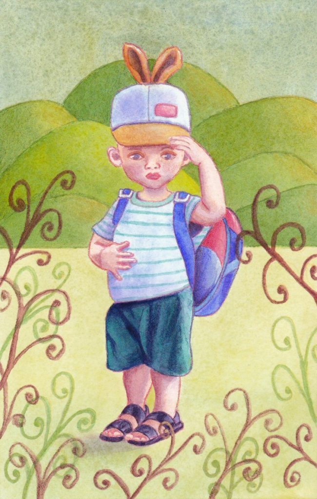 Boy in a rabbit ears cap, painted with acrylics and coloured pencisl