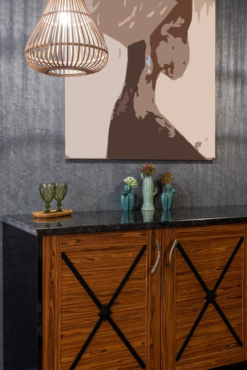 A simple monochrome art print on feature wall colour