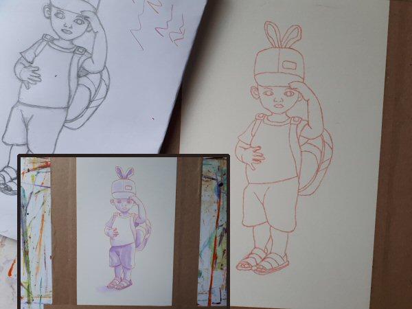 Boy in a rabbit ears cap, pencil sketch