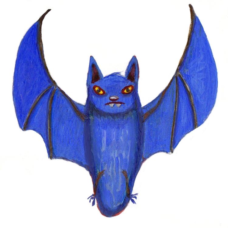 A blue Halloween bat