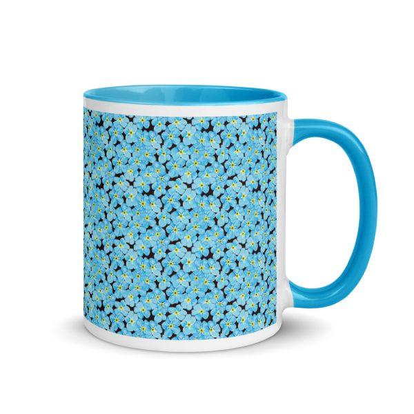 Forget Me Not Pattern Glossy Ceramic Mug 11oz blue handle