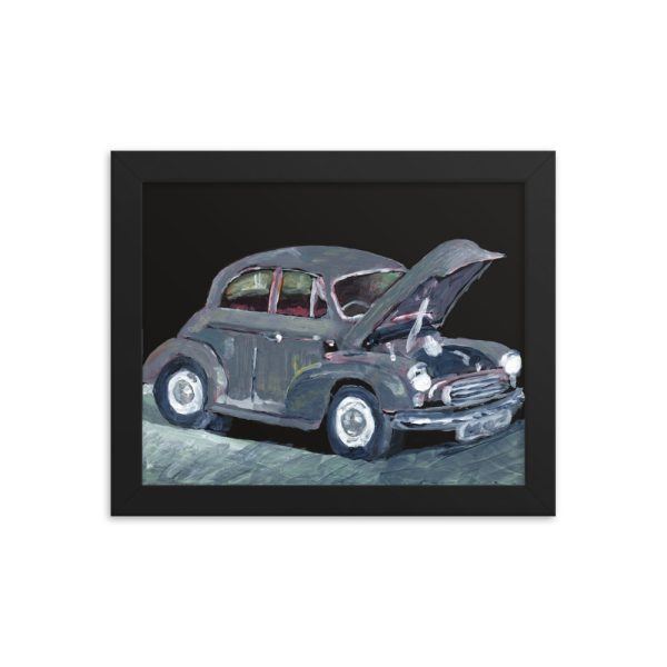 Jalopy - Dilapidated Old Grey Car - 8x10 Framed Print
