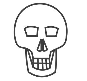 How to draw a skull - a finished skull