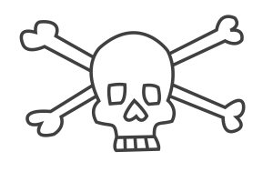 How to draw a skull - a skull and crossbones