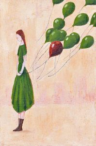 Girl With Green Balloons