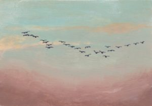 Flock of Birds in Distant Sky