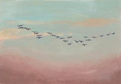 Flock of Birds in Distant Sky