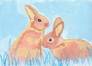Pastel Bunnies On Blue